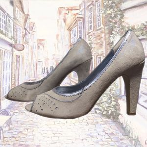50%OFF Paolo Gray and Blue Suede Peep Toe Pump